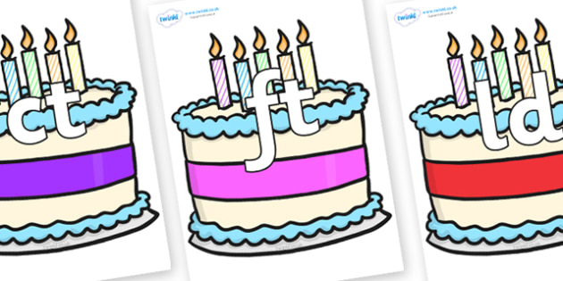 Final Letter Blends on Birthday Cakes - Final Letters, final letter, letter blend, letter blends, consonant, consonants, digraph, trigraph, literacy, alphabet, letters, foundation stage literacy