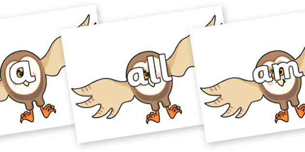 Foundation Stage 2 Keywords on Hullabaloo Owl to Support Teaching on Farmyard Hullabaloo - FS2, CLL, keywords, Communication language and literacy,  Display, Key words, high frequency words, foundation stage literacy, DfES Letters and Sounds, Letters