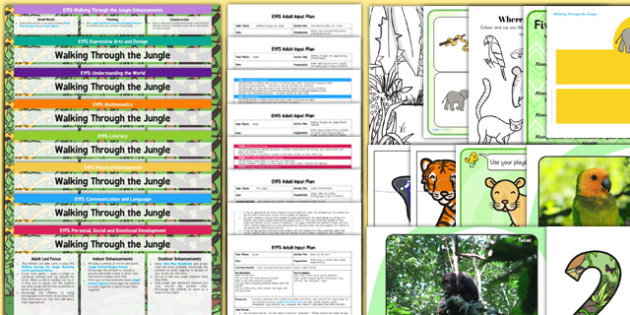 EYFS Lesson Plan Enhancement Ideas and Resources Pack to Support Teaching on Walking Through the Jungle