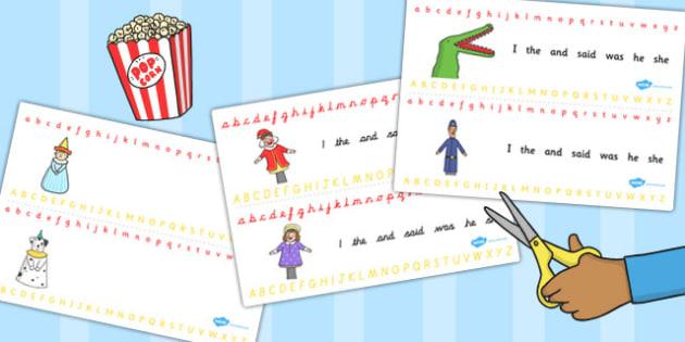 Punch and Judy Alphabet Strips - alphabet, strips, punch, judy