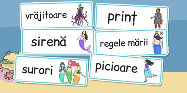 Mica Sirena, cartonase cu imagini si cuvinte din poveste, Romanian
