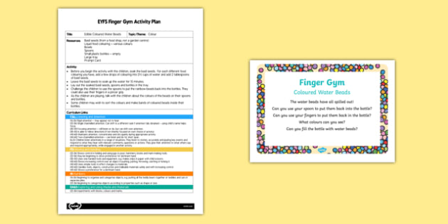 EYFS Coloured Water Beads Finger Gym Plan and Prompt Card Pack