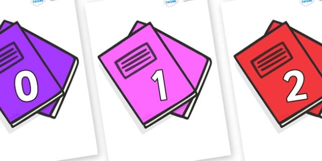 Numbers 0-100 on Exercise Books - 0-100, foundation stage numeracy, Number recognition, Number flashcards, counting, number frieze, Display numbers, number posters