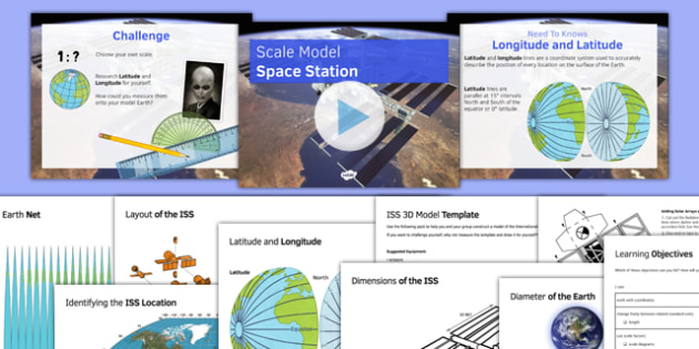 Scale Model Space Station - maths, KS 3, KS 2, space, ISS, space station, scale, ratio, model building, coordinates, latitude, longitude, shape, sphere, nets