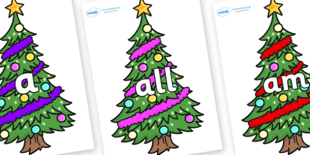 Foundation Stage 2 Keywords on Christmas Trees (Decorated) - FS2, CLL, keywords, Communication language and literacy,  Display, Key words, high frequency words, foundation stage literacy, DfES Letters and Sounds, Letters and Sounds, spelling