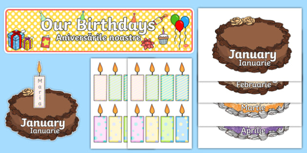 Editable Birthday Display Set (Cakes) Romanian Translation-Romanian-translation
