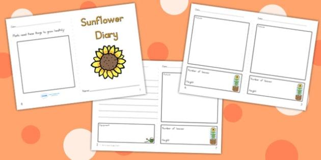 Sunflower Diary Writing Frame - sunflower, sunflower diary, write