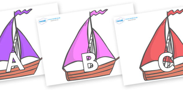 A-Z Alphabet on Sailing Boats to Support Teaching on Where the Wild Things Are - A-Z, A4, display, Alphabet frieze, Display letters, Letter posters, A-Z letters, Alphabet flashcards