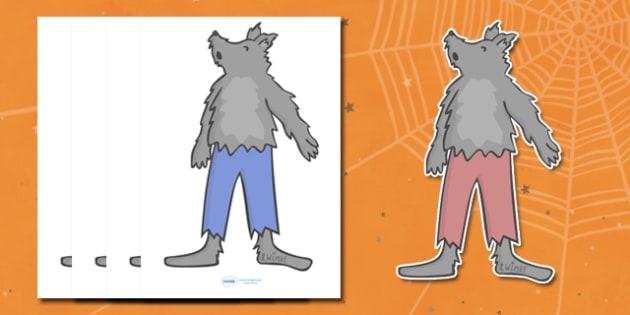 Editable Halloween Werewolf (A4) - Editable Halloween Werewolf, werewolf, A4, display, poster, Halloween, pumpkin, witch, bat, scary, black cat, mummy, grave stone, cauldron, broomstick, haunted house, potion, Hallowe'en