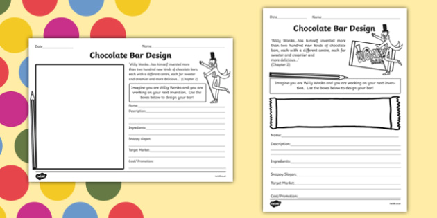 Chocolate Bar Design Task to Support Teaching on Charlie and the Chocolate Factory