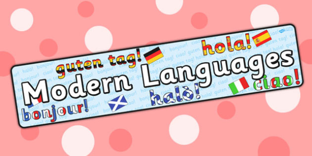 Modern Languages Curriculum For Excellence Display Banner - hello