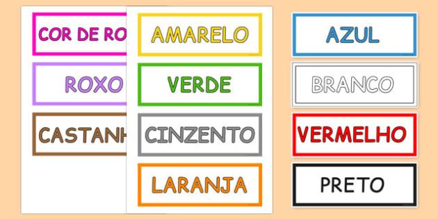Colours Vocabulary Cards Portuguese - portuguese, colours, vocabulary, cards