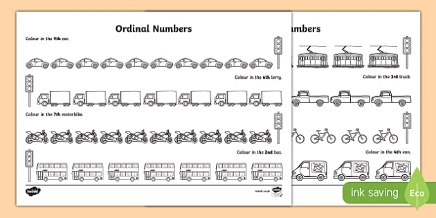 Traffic Ordinal Numbers Activity Sheet - traffic, ordinal numbers, activity sheet, activity, worksheet