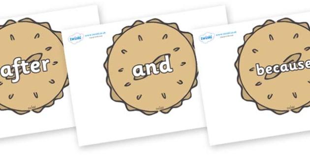 Connectives on Pies - Connectives, VCOP, connective resources, connectives display words, connective displays
