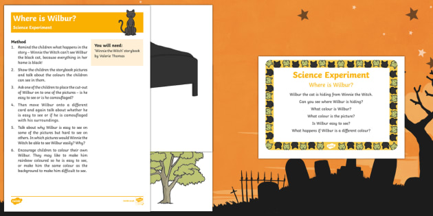 EYFS Where is Wilbur? Science Experiment and Prompt Card Pack