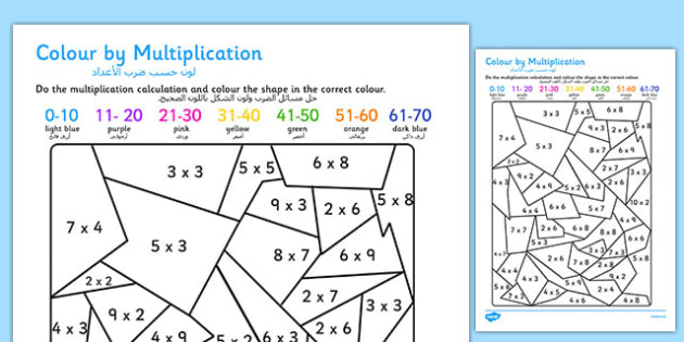 Colour by Multiplication Arabic Translation - arabic, colour, multiplication, colouring, times tables, activities, games, maths games, numeracy, numeracy puzzles, number games