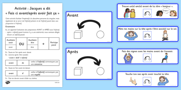 Activité: Jacques a dit Fais ci avant/après avoir fait ça French - french, before and after, simon says, actions