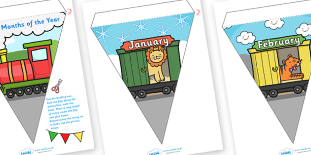 Months of the Year Animal Train Bunting with Weather Themed Backgrounds - months of the year bunting, months bunting, weather and seasons bunting, seasons
