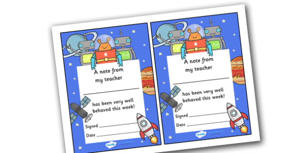 Note From My Teacher Well Behaved This Week (Space Themed) - note from teacher well behaved this week, well behaved this week, note from teacher, notes, praise, comment, note, teacher, teacher's, parents, well behaved, this week, space themed, space,