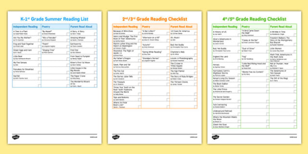 Common Core USA Summer Reading Checklists - usa, america, reading list, end of year