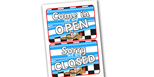 American Diner Role Play Open Closed Sign - amrican diner, american, diner, role play, american diner role play, open, closed, sign, open sign, closed sign