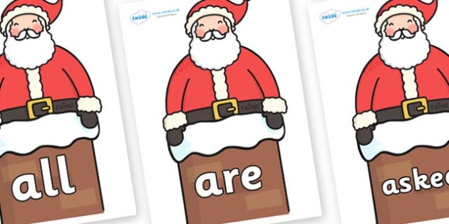 Tricky Words on Santa in Chimney - Tricky words, DfES Letters and Sounds, Letters and sounds, display, words