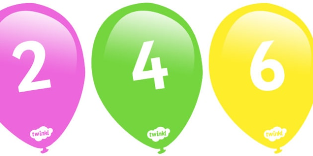 Counting in 2s on Balloons - Counting, Numberline, Number line, Counting on, Counting back, even numbers, foundation stage numeracy, counting in 2s