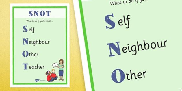 SNOT Display Poster - snot, poster, display, display poster, stuck, help, teacher, neighbour, self, other