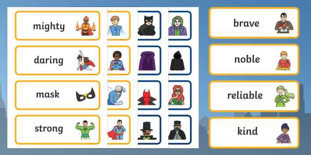 Superhero Hero and Villain Word Cards - superheroes, hero, villain, word cards, words, cards
