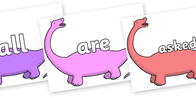 Tricky Words on Apatosaurus to Support Teaching on Harry and the Bucketful of Dinosaurs - Tricky words, DfES Letters and Sounds, Letters and sounds, display, words
