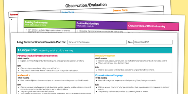 Games and Puzzles Area Editable Continuous Provision Plan Reception FS2 - games, puzzles, area, editable