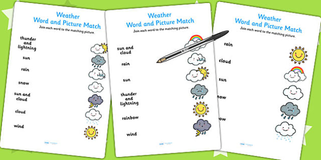 Weather Word and Picture Matching Worksheet - season, match, sort