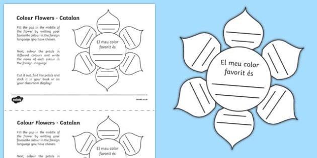 MFL Catalan Colour Flowers Activity Sheet, worksheet