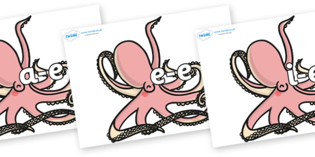 Modifying E Letters on Octopuses - Modifying E, letters, modify, Phase 5, Phase five, alternative spellings for phonemes, DfES letters and Sounds
