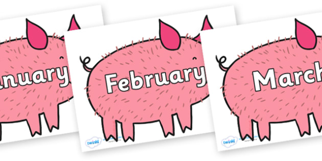 Months of the Year on Hairy Hog to Support Teaching on What the Ladybird Heard - Months of the Year, Months poster, Months display, display, poster, frieze, Months, month, January, February, March, April, May, June, July, August, September