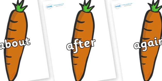 KS1 Keywords on Carrots - KS1, CLL, Communication language and literacy, Display, Key words, high frequency words, foundation stage literacy, DfES Letters and Sounds, Letters and Sounds, spelling