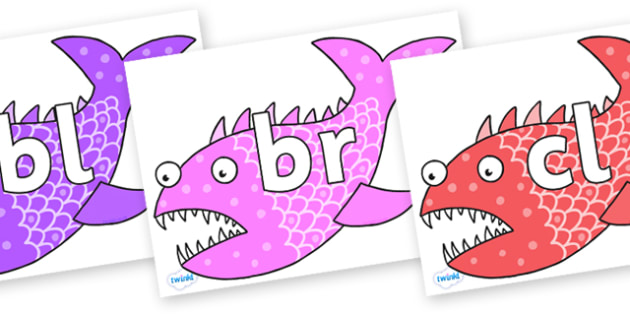 Initial Letter Blends on Fish to Support Teaching on Sharing a Shell - Initial Letters, initial letter, letter blend, letter blends, consonant, consonants, digraph, trigraph, literacy, alphabet, letters, foundation stage literacy