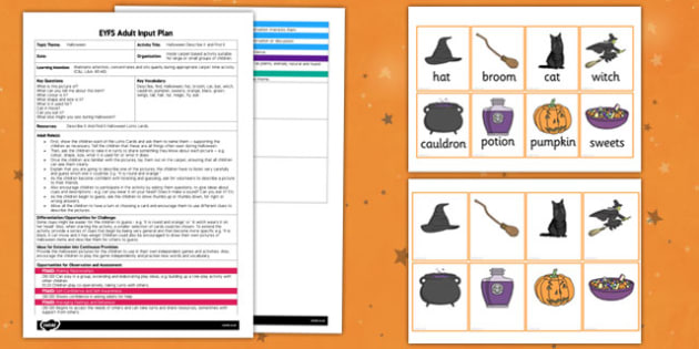 Halloween Describe It and Find It EYFS Adult Input Plan and Resource Pack