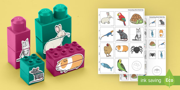 Pets Matching Connecting Bricks Game - EYFS, Early Years, KS1, animals, living things, everyday life, cat, dog, rabbit.