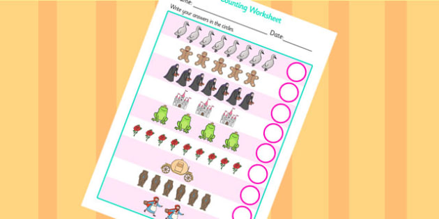 Traditional Tales Themed Counting Worksheet - traditional tales, counting, worksheet, counting sheet, themed worksheet, numbers, maths, numeracy