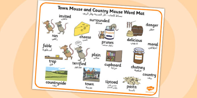 The Town Mouse And The Country Mouse Word Mat Arabic Translation - arabic
