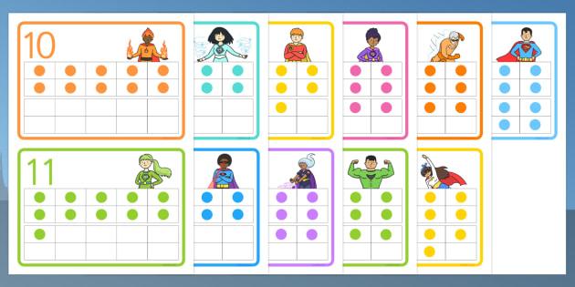 Superhero-Themed Double Tens Frames - superhero, double tens, frames, twenty, maths, number, bonds, 20, counting, addition