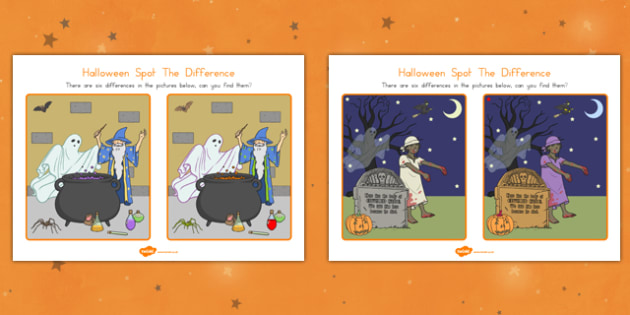 Halloween Spot The Difference - comparing, fun and games, filler, activity, KS1, KS2