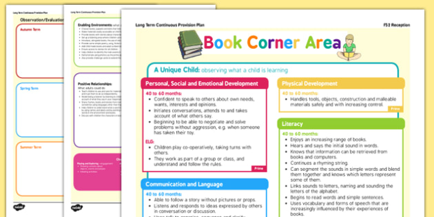 Book Corner Or Reading Area Continuous Provision Plan Poster Reception FS2