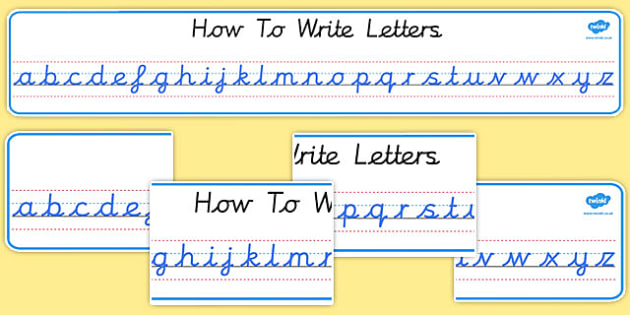 Letters writing cursive letters worksheets : Cursive Alphabet Display Banners - Alphabet display banner
