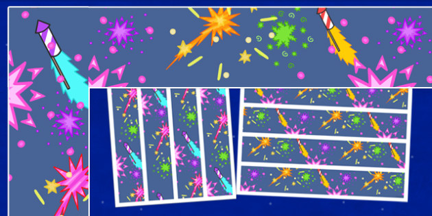 Firework / Bonfire Night Display Borders - Display border, classroom border, border, Guy, Autumn, A4, display, bang, crackle, woosh, sparkler, catherine wheel, screech, whirl, fire, bonfire, leaves, gloves