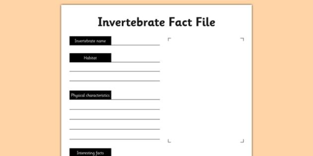 Invertebrate Fact File Activity Sheet - living things, habitats, variation, classification, grouping, invertebrates, characteristics, keys, worksheet