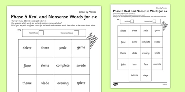 Phase 5 'e-e' Split Digraph Colour By Phoneme Real and Nonsense Words