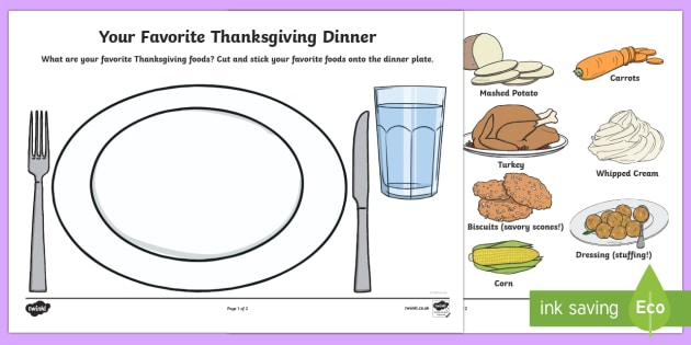 Your Favorite Thanksgiving Dinner Cut and Stick Activity Sheet