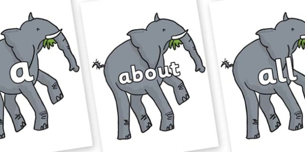 100 High Frequency Words on Trunky The Elephant to Support Teaching on The Enormous Crocodile - High frequency words, hfw, DfES Letters and Sounds, Letters and Sounds, display words